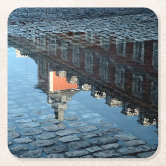 Reflection in a pool of the Greater Place of Square Paper Coaster