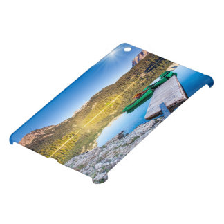 Reflection in water of mountain lakes and boats case for the iPad mini