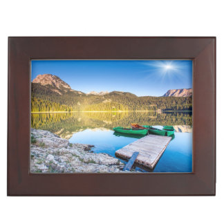 Reflection in water of mountain lakes and boats keepsake box
