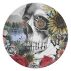 Reflection, landscape skull. plate
