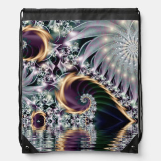 Reflection Silver Spiral Fractal Drawstring Bag