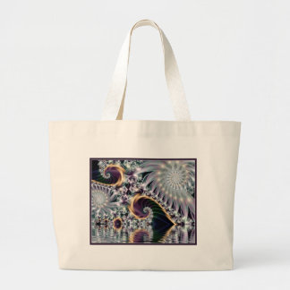 Reflection Silver Spiral Fractal Large Tote Bag