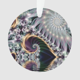 Reflection Silver Spiral Fractal Ornament