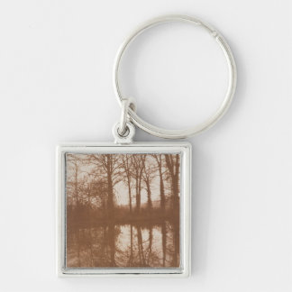 Reflections, 1843 (sepia photo) Silver-Colored square key ring