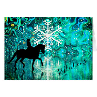 Reflections Dressage Horse, Rider Winter Snowflake Card