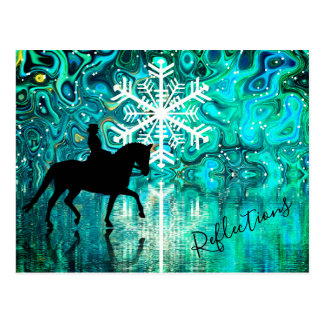 Reflections Dressage Horse, Rider Winter Snowflake Postcard