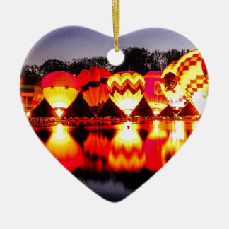 Reflections of Hot Air Balloons Ceramic Heart Decoration
