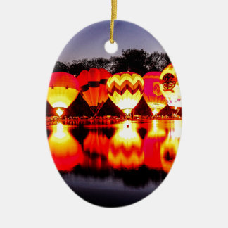 Reflections of Hot Air Balloons Ceramic Oval Decoration