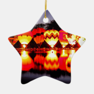 Reflections of Hot Air Balloons Ceramic Star Decoration