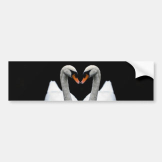 Reflections of Love, Heart Shape, White Swans Bumper Sticker