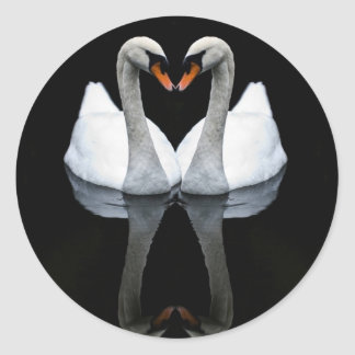 Reflections of Love, Heart Shape, White Swans Round Sticker