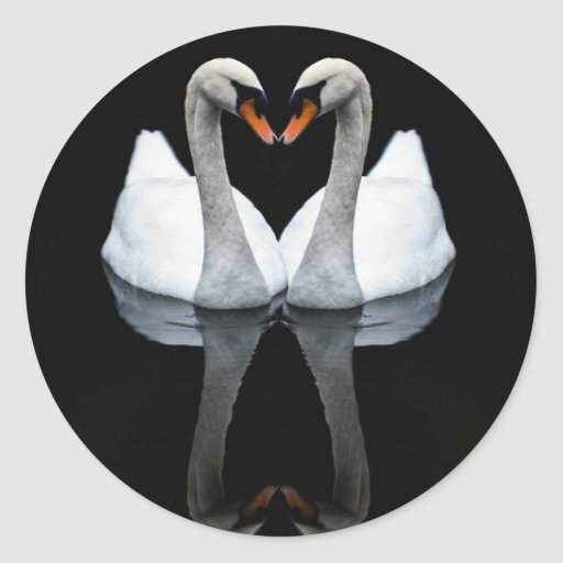 Reflections of Love, Heart Shape, White Swans Round Stickers