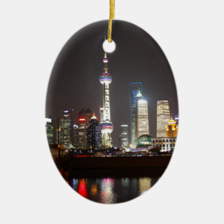 Reflections of Shanghai at Night Christmas Ornament