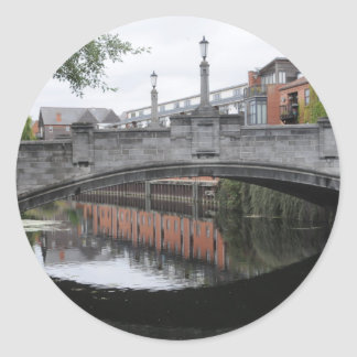 Reflections on the River Wensum, Norwich Round Sticker