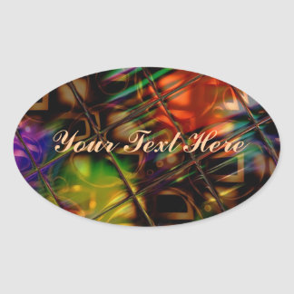 Reflections Pattern In Multi Colors Oval Sticker