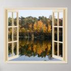 Reflective Autumn Lake Faux Window View Poster