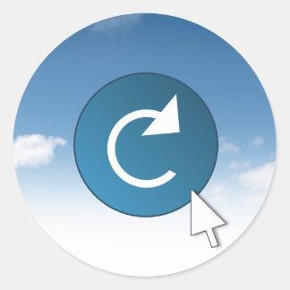 Refresh concept. round sticker
