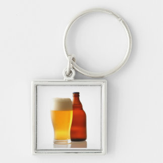 Refreshing Beer Keycain Silver-Colored Square Key Ring
