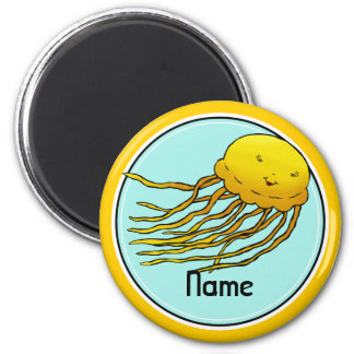 Refrigerator Magnet, Name Template, Cute Jellyfish 6 Cm Round Magnet