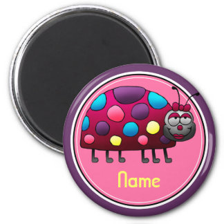 Refrigerator Magnet, Name Template, Cute Ladybug 6 Cm Round Magnet