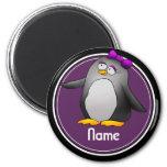 Refrigerator Magnet, Name Template, Cute Penguin 6 Cm Round Magnet
