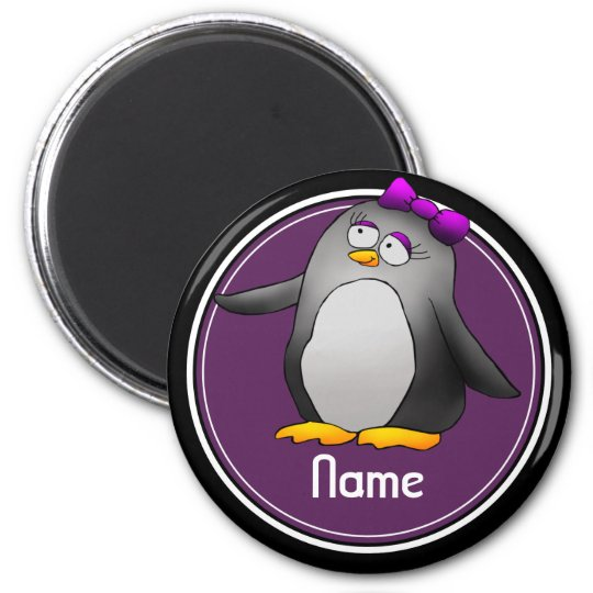 Refrigerator Magnet, Name Template, Cute Penguin 6 Cm
