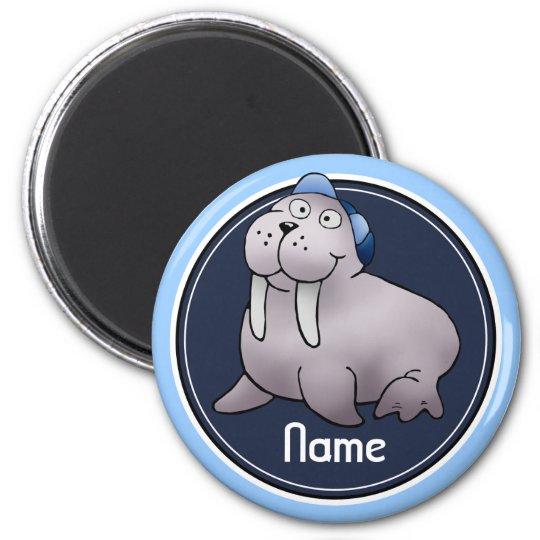 Refrigerator Magnet, Name Template, Walrus 6 Cm Round