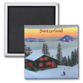 Refrigerator Magnet Snowy Switzerland at sunset