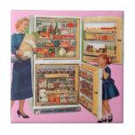 refrigerator of plenty small square tile