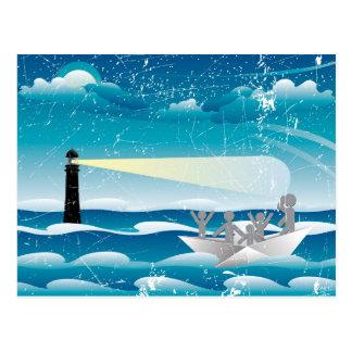 Refugees in Paper Boat 4 Postcard