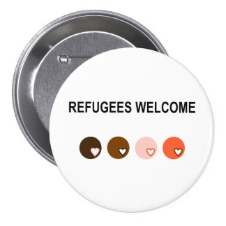 Refugees welcome 7.5 cm round badge