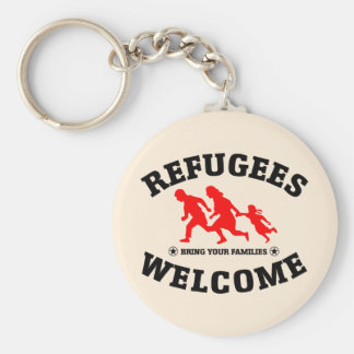 Refugees Welcome Bring Your Families Basic Round Button Key Ring
