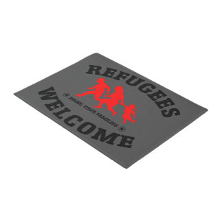 Refugees Welcome Bring Your Families Doormat