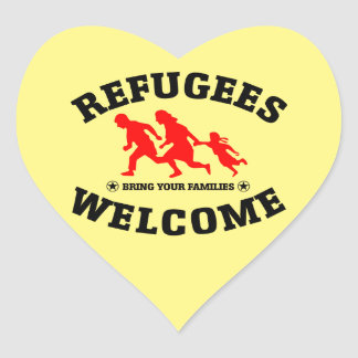 Refugees Welcome Bring Your Families Heart Sticker