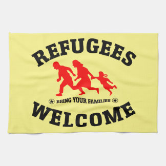 Refugees Welcome Bring Your Families Tea Towel