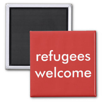 refugees welcome square magnet