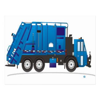 Refuse Truck Blue Postcard