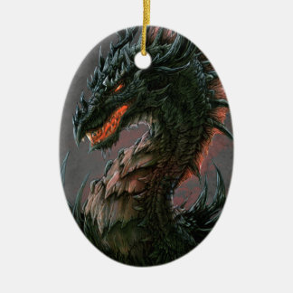 Regal Black Dragon Head - Full Colour Christmas Ornament