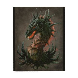 Regal Black Dragon Head - Full Colour Wood Wall Art