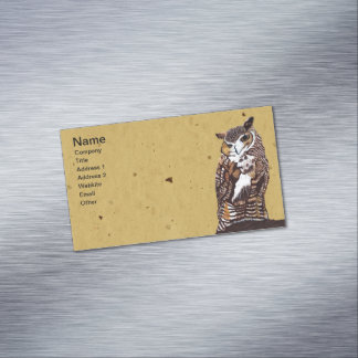 Regal Brown Owl Tree Stump Magnetic Business Cards
