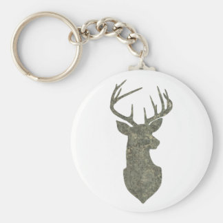Regal Buck Trophy Deer Silhouette in Camouflage Basic Round Button Key Ring
