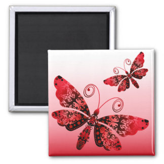 """""""Regal Butterfly"""" (red) by Cheryl Daniels Square Magnet"""