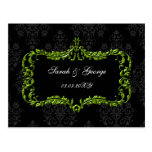 regal flourish black and green  save the date post card