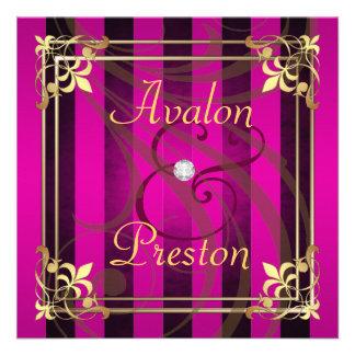 Regal Gold Filigree Pink Stripe Invitation