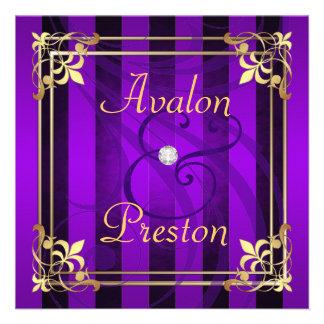 Regal Gold Filigree Purple Stripe Invitation