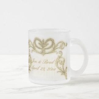 Regal gold stripe design frosted glass mug
