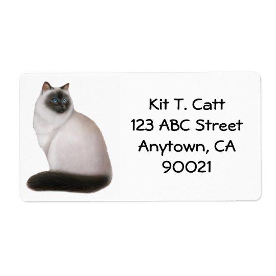 Regal Himalayan Cat Avery Label