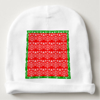 Regal Layered Green & Red Baby Beanie