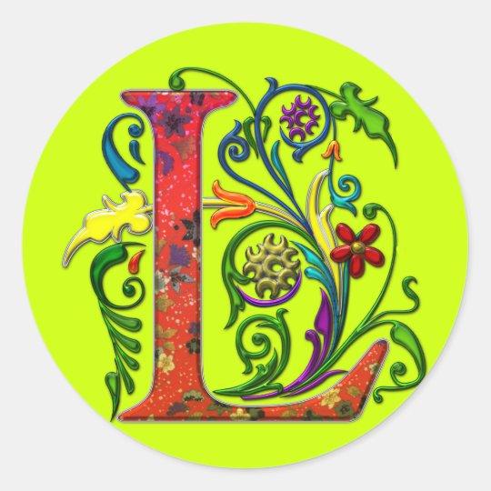 REGAL Letter L Round Sticker