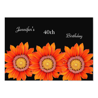 Regal Orange Yellow Flower 40th Birthday Black 13 Cm X 18 Cm Invitation Card